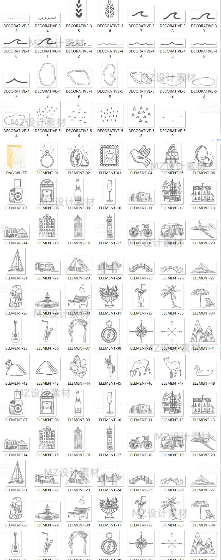 手绘线稿ins风植物动物建筑物花环婚礼地图矢量插画PNG图ps素材 素材包-第6张