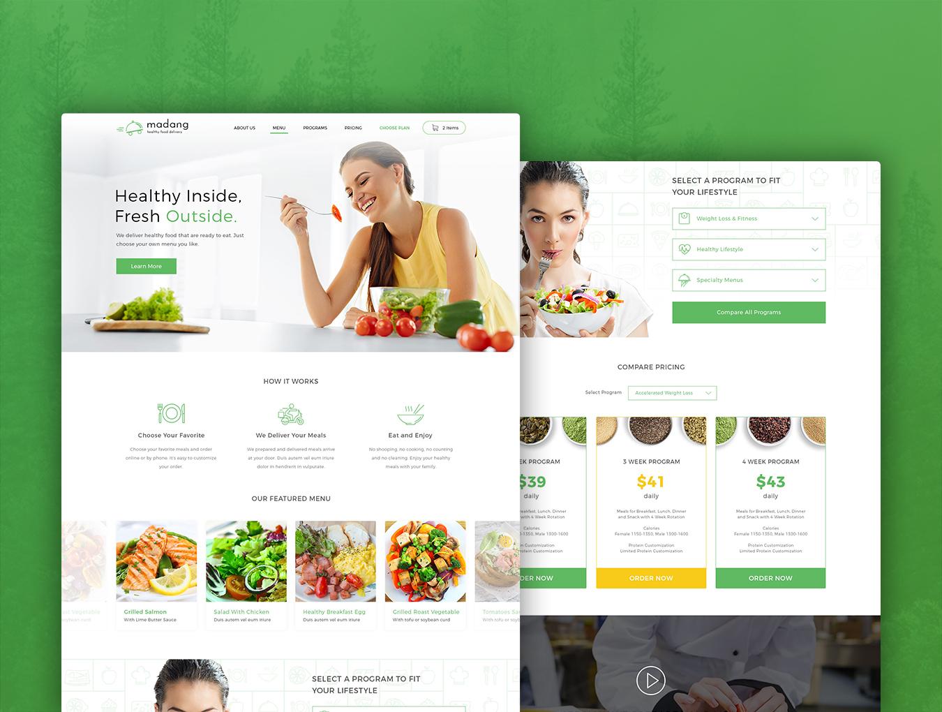 完整的美食健康快递类网页模板素材.psd素材下载 网页模板-第1张