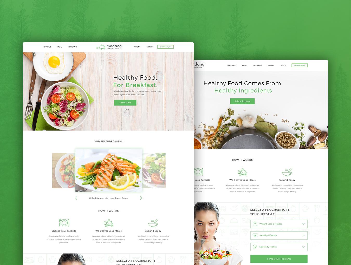 完整的美食健康快递类网页模板素材.psd素材下载 网页模板-第2张