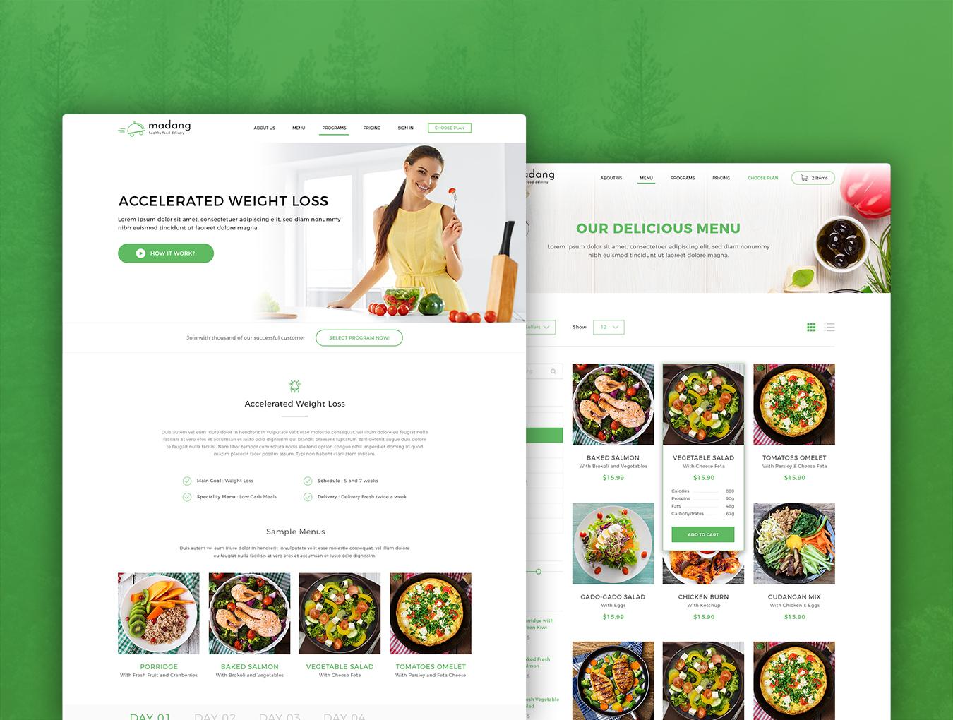 完整的美食健康快递类网页模板素材.psd素材下载 网页模板-第4张