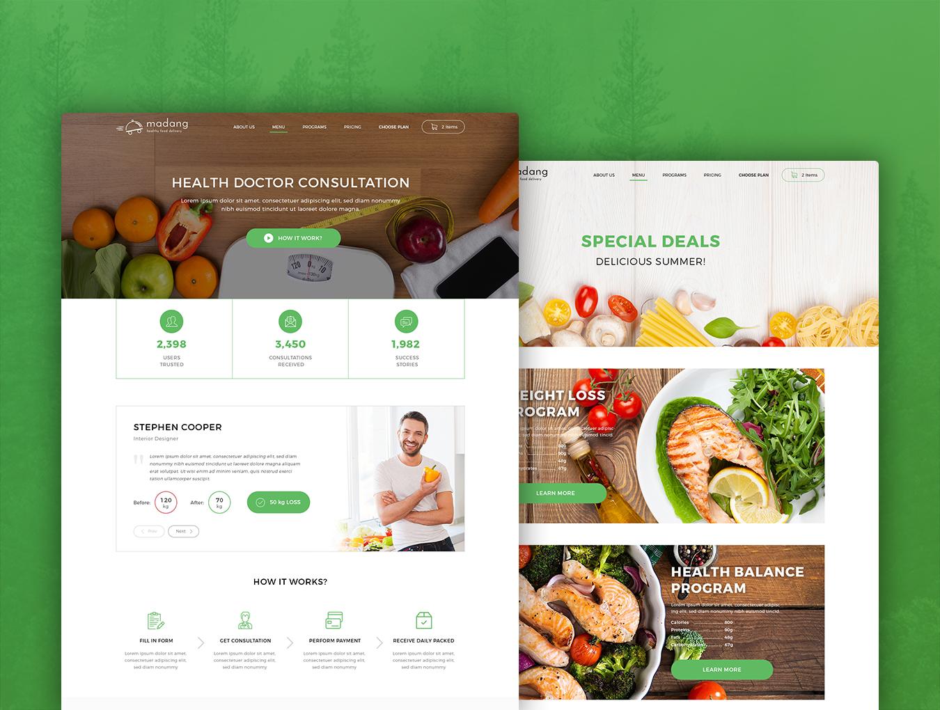 完整的美食健康快递类网页模板素材.psd素材下载 网页模板-第5张