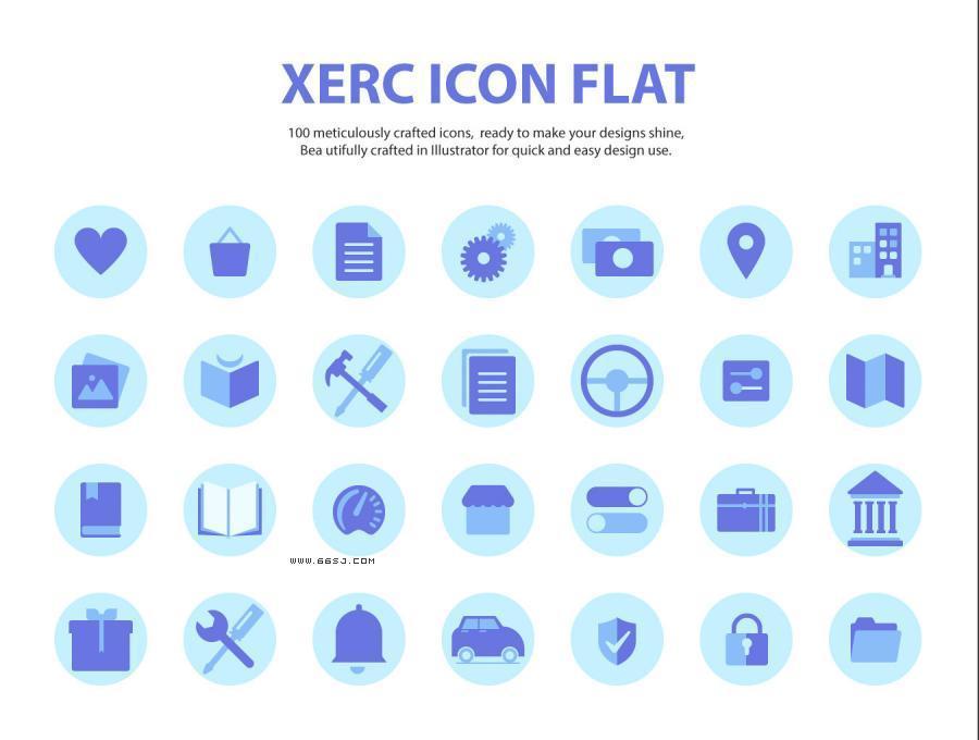 Xeric Flat Icon扁平图标集.AI素材下载 图标-第1张