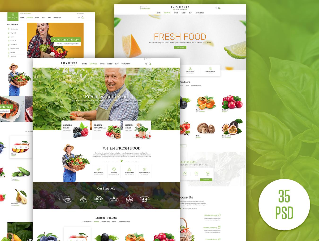 绿色有机食品电子购物网站模板.PSD素材下载 网页模板-第2张