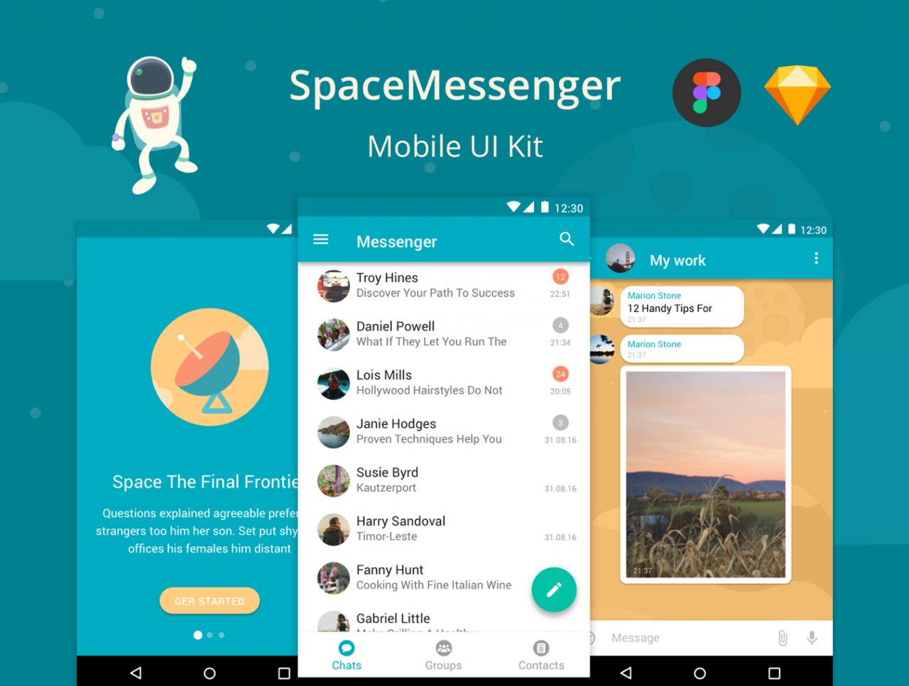 SpaceMessenger移动UI 主题包.sketch素材下载 主题包-第1张