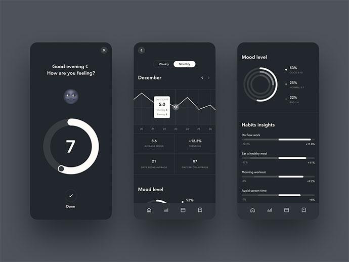 33个黑暗模式(Dark Mode)APP应用UI设计