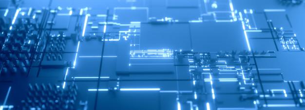蓝色微处理器3D灯光背景插图