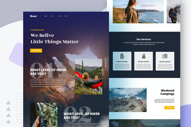 专业的高品质专业登山运动官方网站设计模板-PSD,XD插图