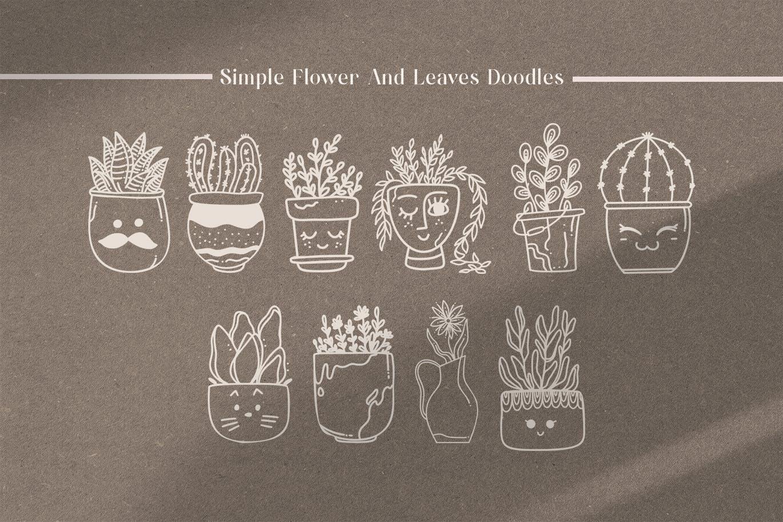 抽象可爱植物艺术线条风格矢量插画集合-AI,PNG,EPS插图(2)
