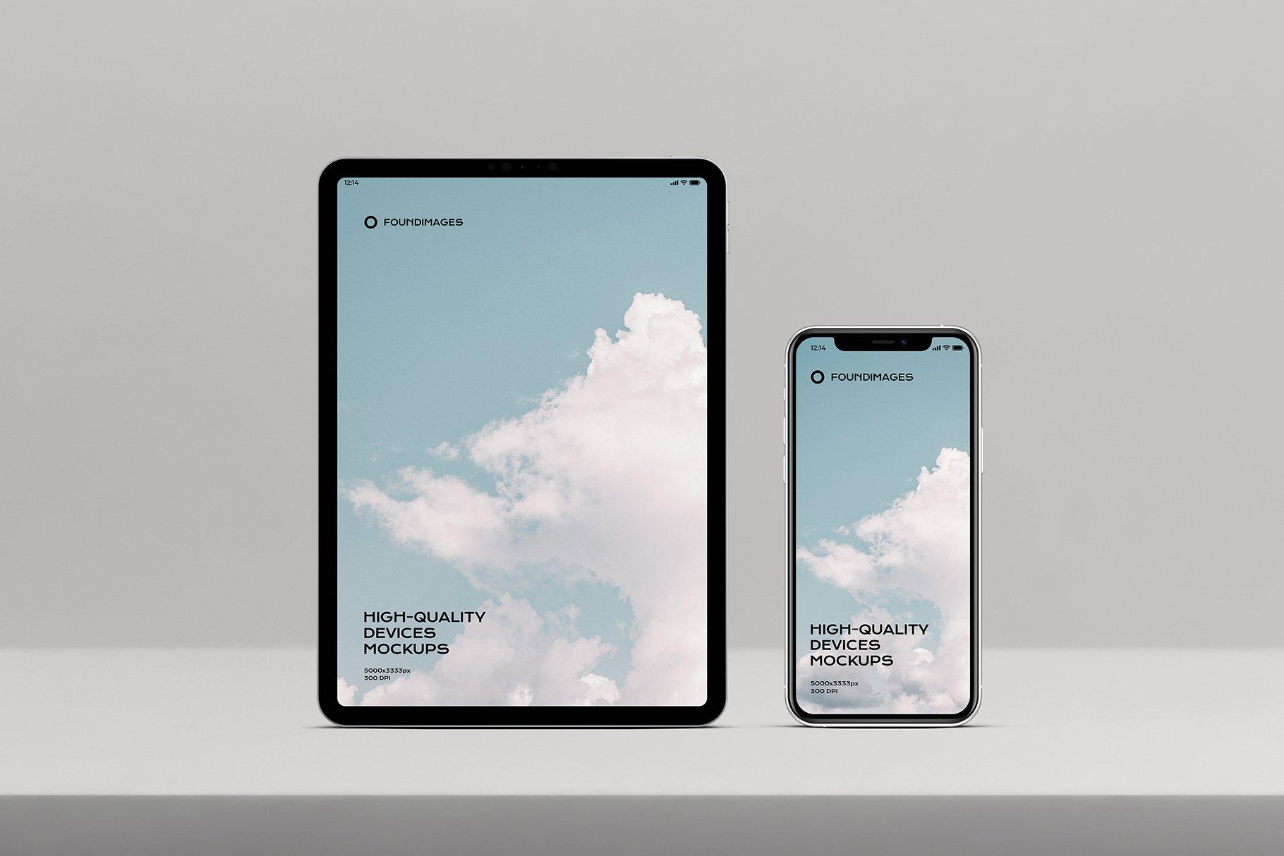 苹果系列设备多屏幕展示样机素材-正视图插图(5)
