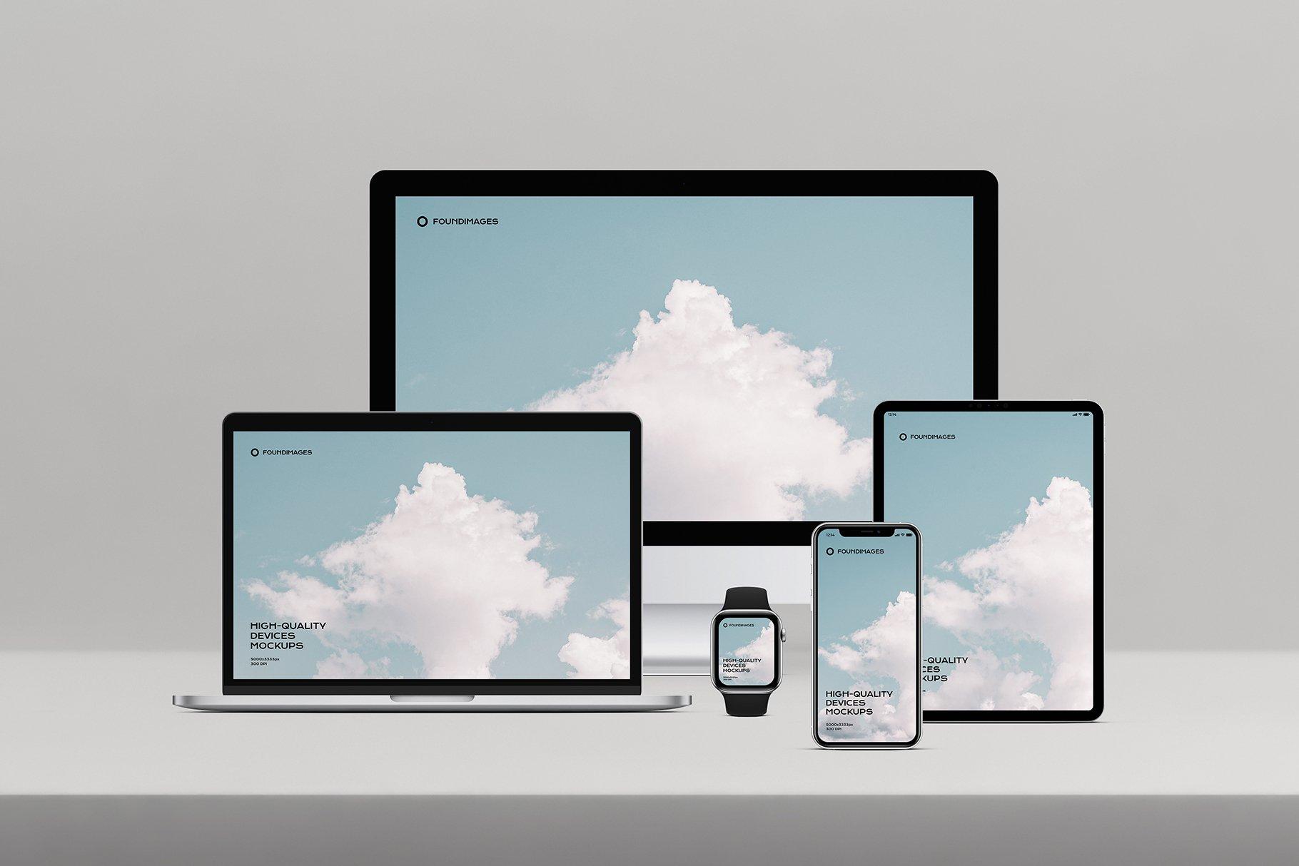 苹果系列设备多屏幕展示样机素材-正视图插图(9)
