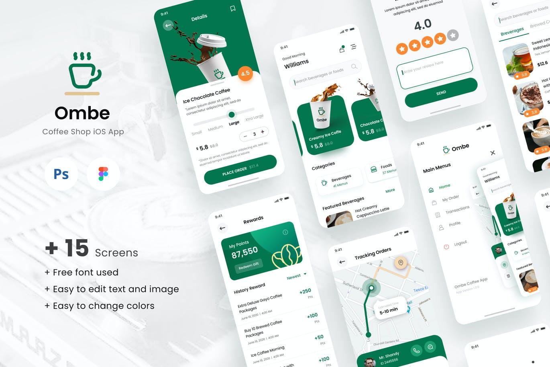 高品质的时尚高端咖啡店手机应用程序 iOS APP UI KITS插图