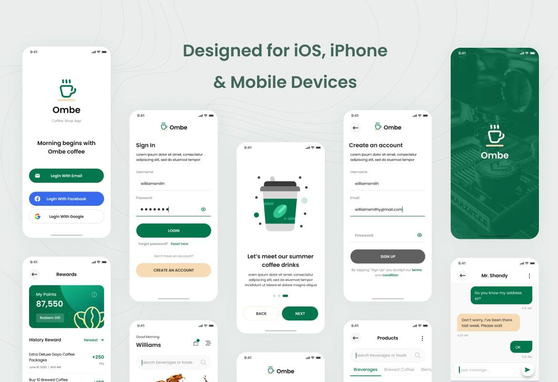 高品质的时尚高端咖啡店手机应用程序 iOS APP UI KITS插图(2)