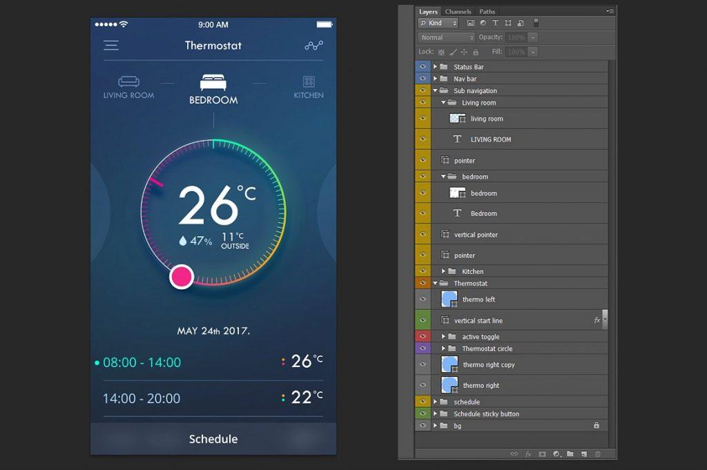 实用的智能家居移动应用程序UI/UX[PSD]插图(2)