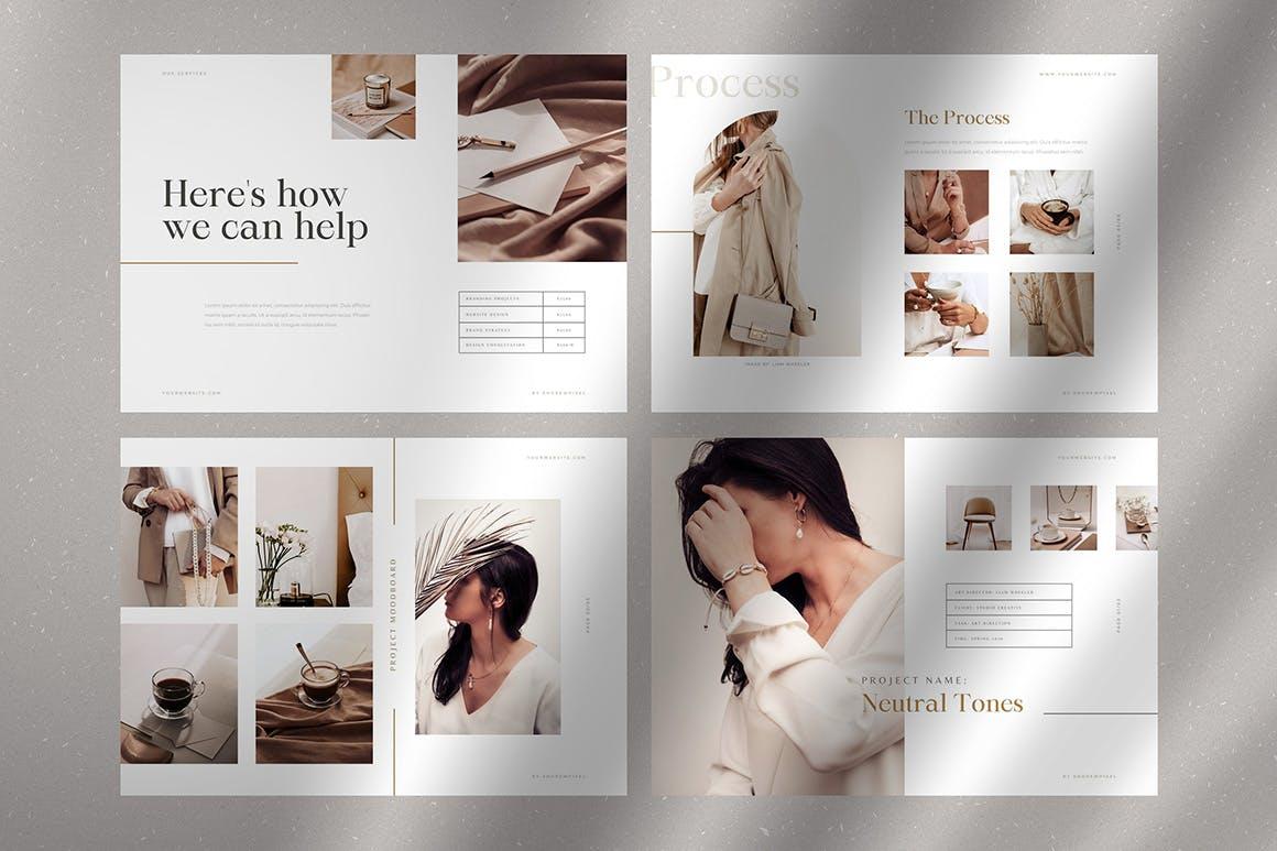 时尚高端简约多用途的高品质品牌手册画册宣传册杂志房地产楼书设计模板-AI,EPS插图(4)
