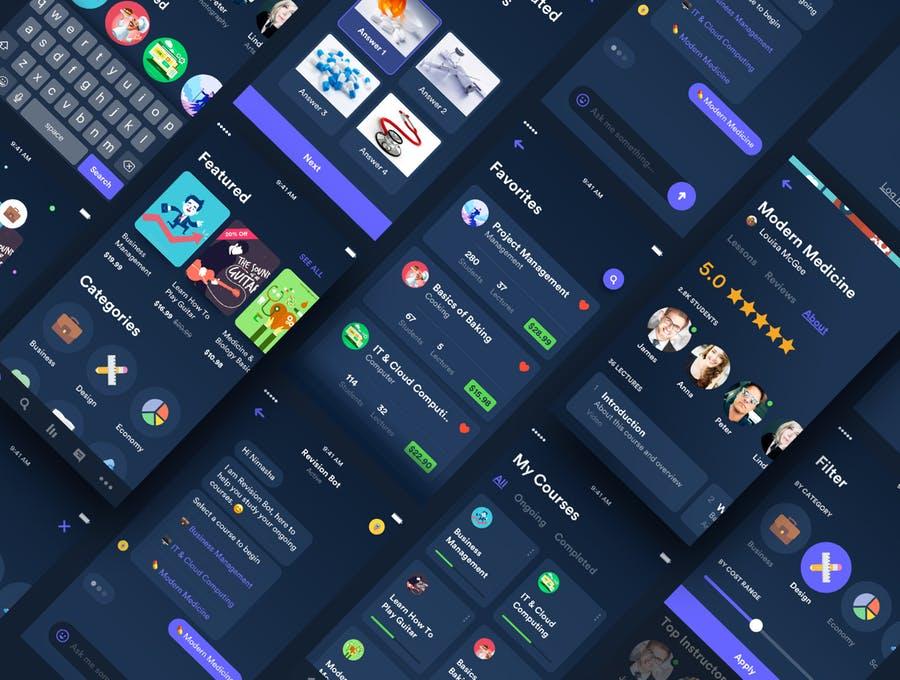 UI KITS | 50个屏幕教育应用程序工具包矢量元素黑白两色系插图(5)