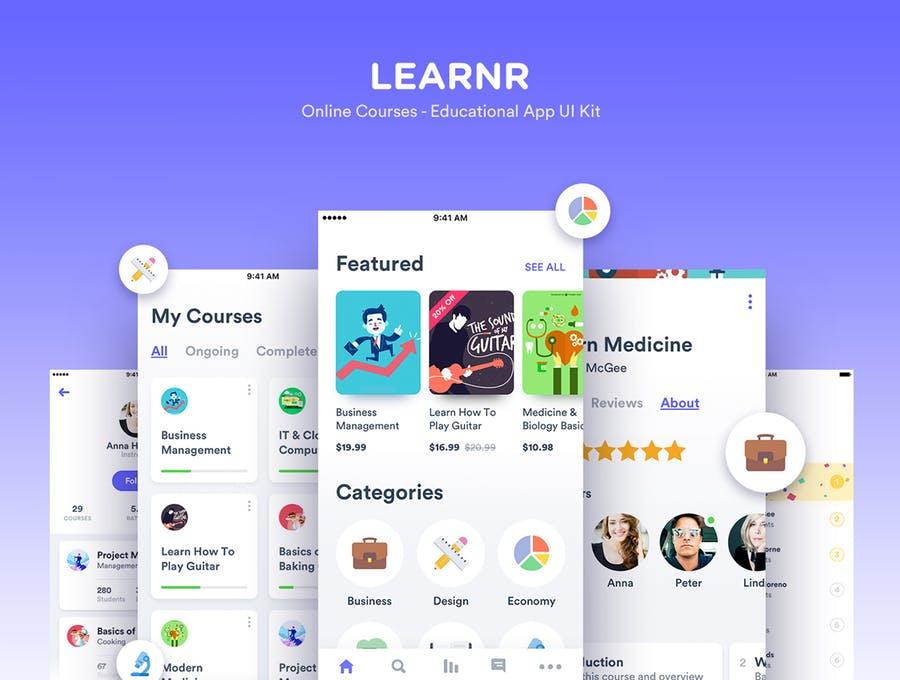 UI KITS | 50个屏幕教育应用程序工具包矢量元素黑白两色系插图