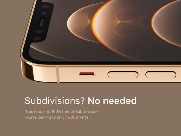 iPhone 12 PRO 金色版3D模型下载[blend,OBJ,FBX]插图(4)