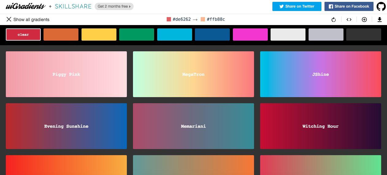 uigradients 网页设计师渐变色获取工具,让新手轻松上手!