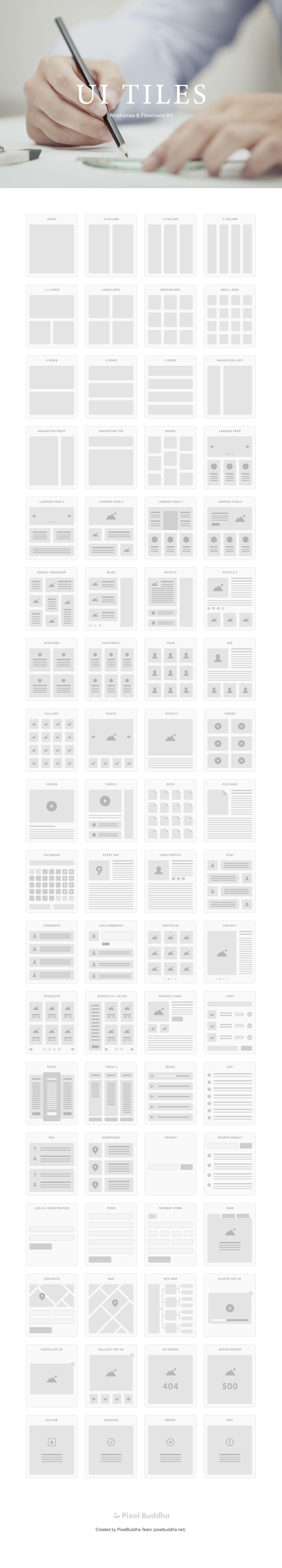 UI TILES 线框图和流程图 UI 套件,帮助设计师提升 80% 的工作效率!