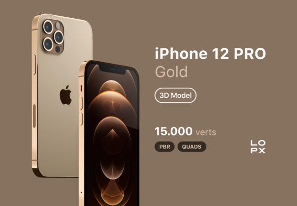 iPhone 12 PRO 金色版3D模型下载[blend,OBJ,FBX]插图