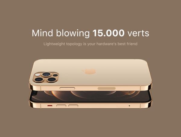 iPhone 12 PRO 金色版3D模型下载[blend,OBJ,FBX]插图5