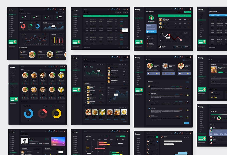 现代餐厅管理后台仪表板dashboard ui kits插图2