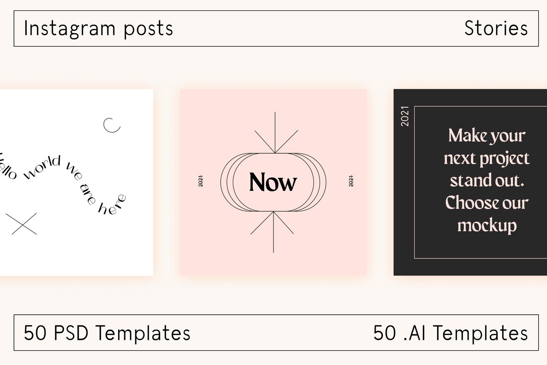 时尚高端清新简约优雅多用途的Instagram社交媒体banner海报设计模板集合-AI,PSD插图8