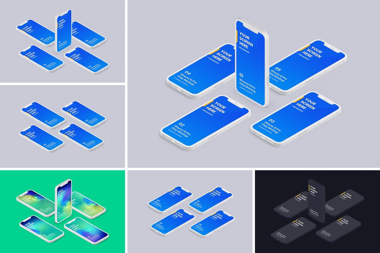 高品质的iPhone 12 APP UI样机展示模型mockups插图