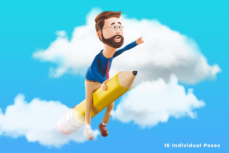 16个时尚可爱卡通3D渲染风格小人吉祥物插图插画集合插图2