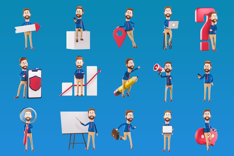 16个时尚可爱卡通3D渲染风格小人吉祥物插图插画集合插图1