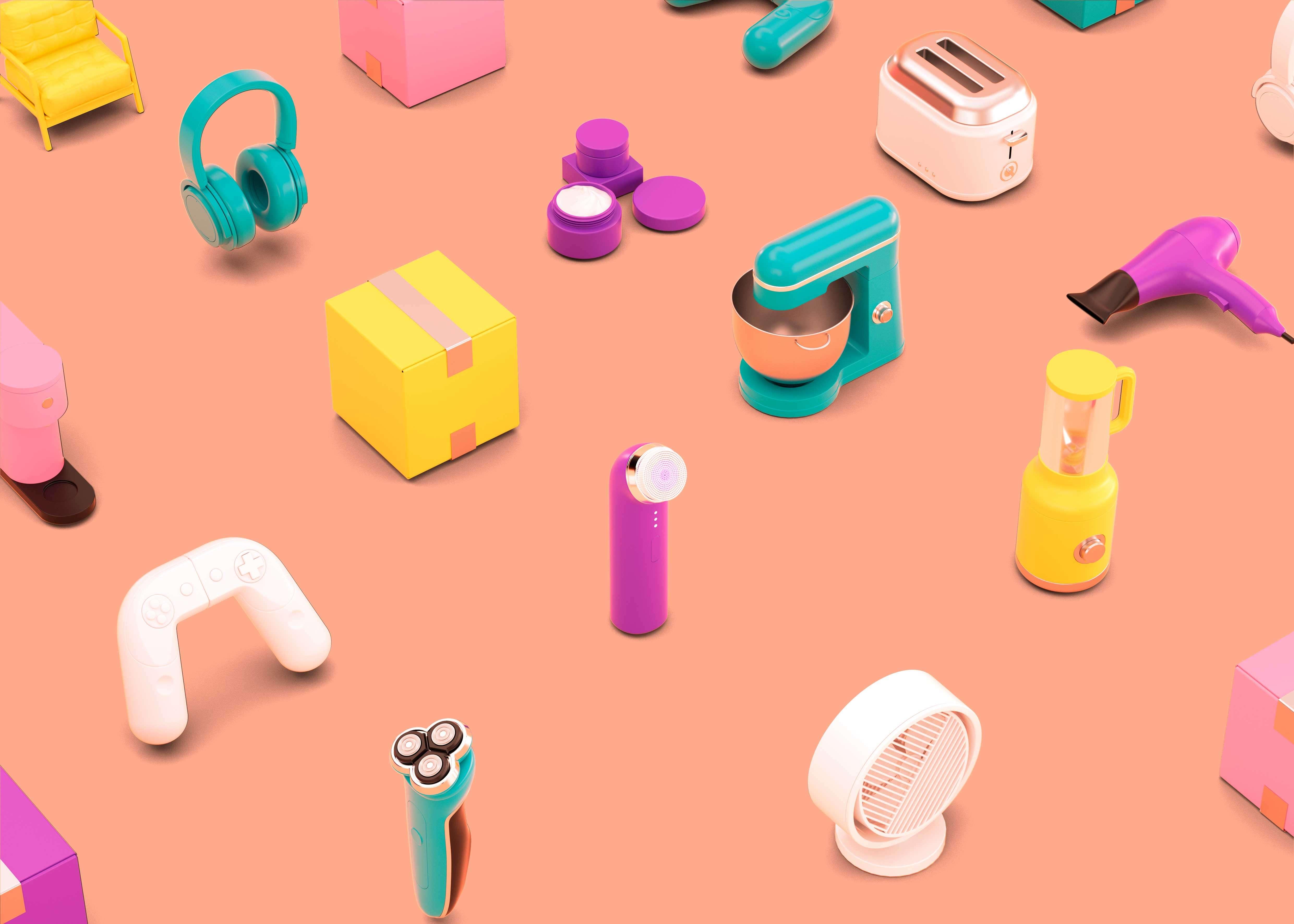 现代电子产品背景图素材 (psd)插图