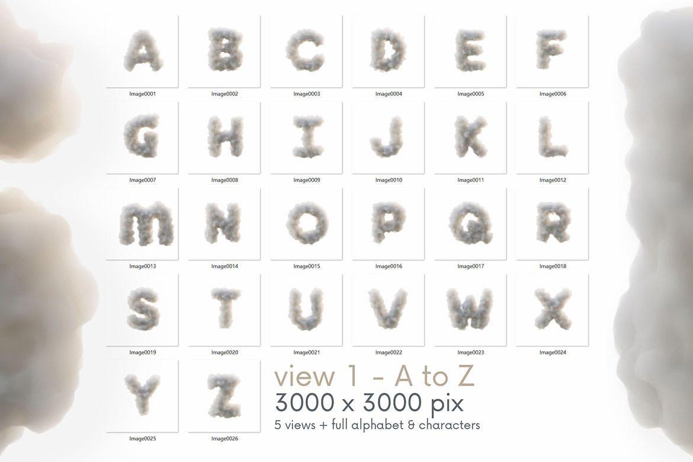 时尚高端3D立体云彩烟雾效果英文字母文字字体设计插图5