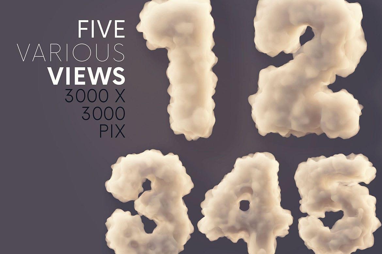 时尚高端3D立体云彩烟雾效果英文字母文字字体设计插图2
