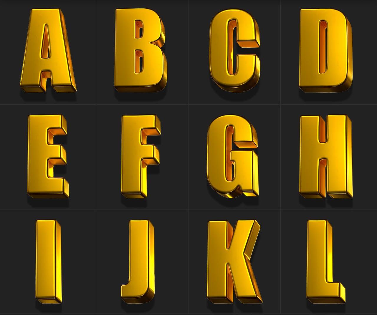 时尚高端专业的高品质土豪金色3D立体字字体设计插图3