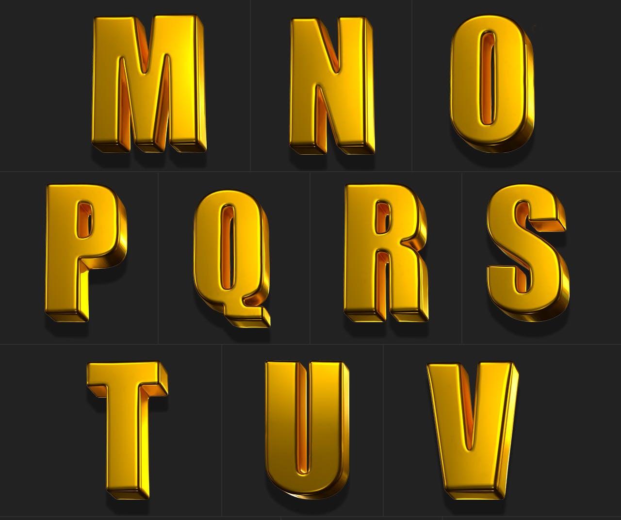 时尚高端专业的高品质土豪金色3D立体字字体设计插图4