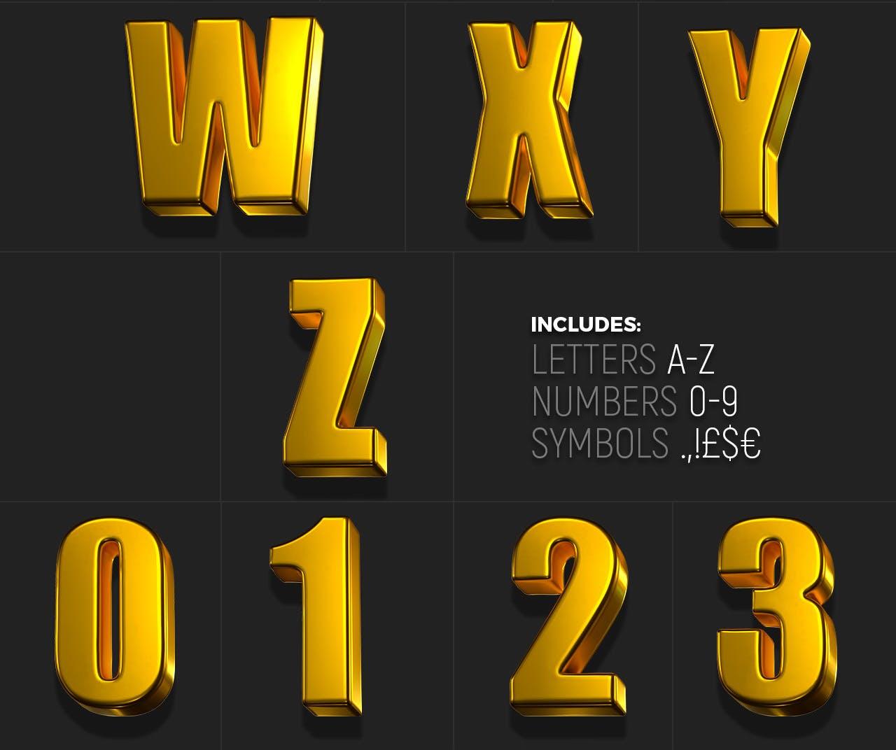 时尚高端专业的高品质土豪金色3D立体字字体设计插图5