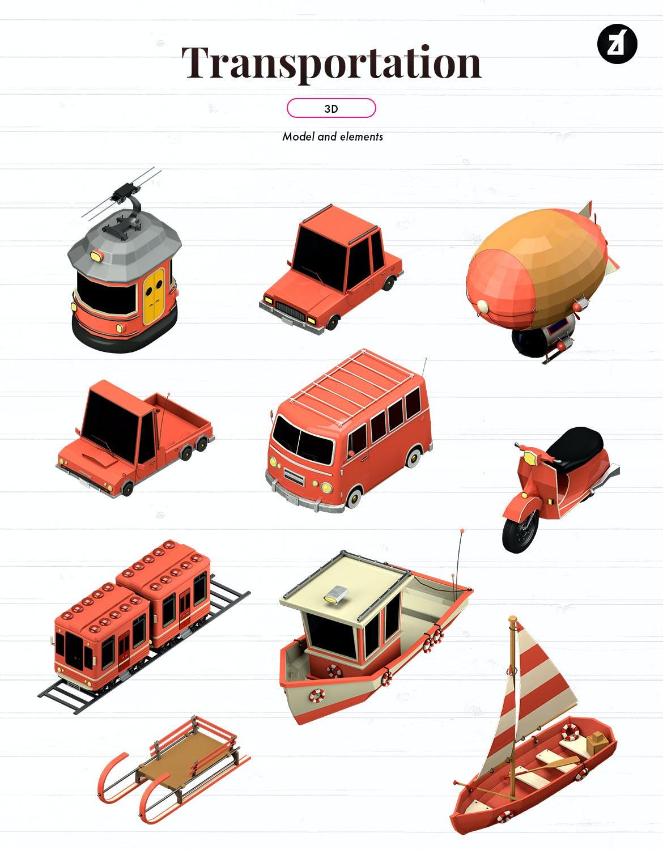 时尚高端3D立体C4D渲染风格运输图标icon集合插图1