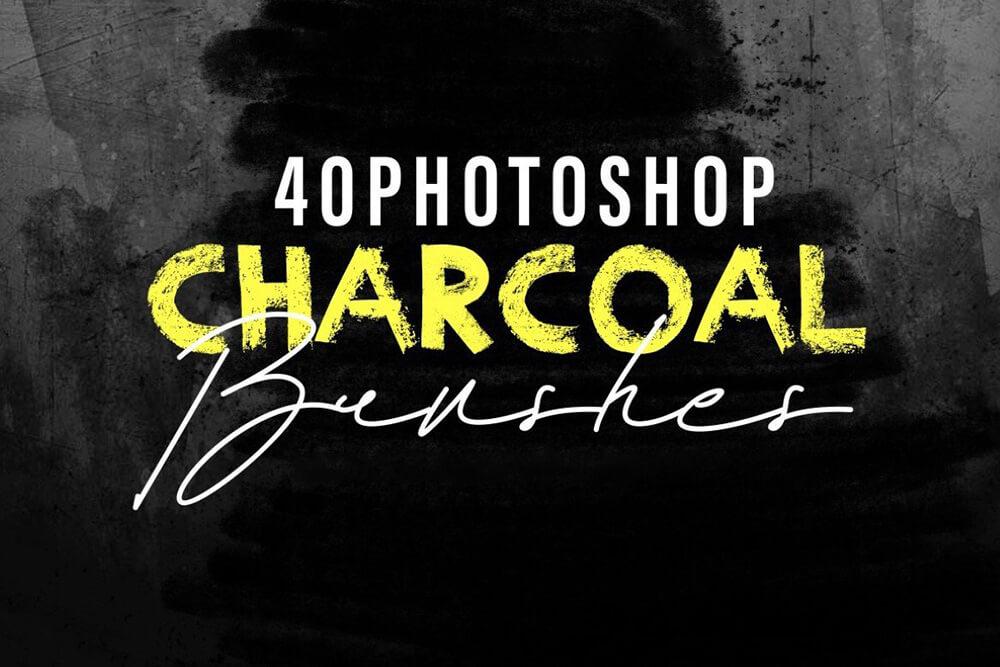 40个木炭经典素描ps手绘笔刷 (abr)插图