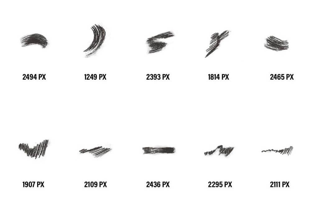 40个木炭经典素描ps手绘笔刷 (abr)插图1