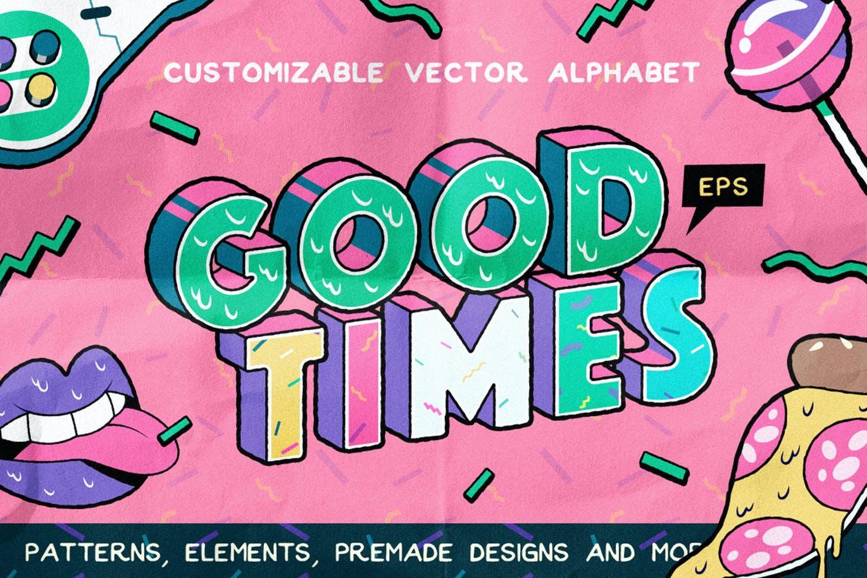 高端时尚清新90年代复古可爱风格3D立体字字体设计背景底纹纹理集合插图