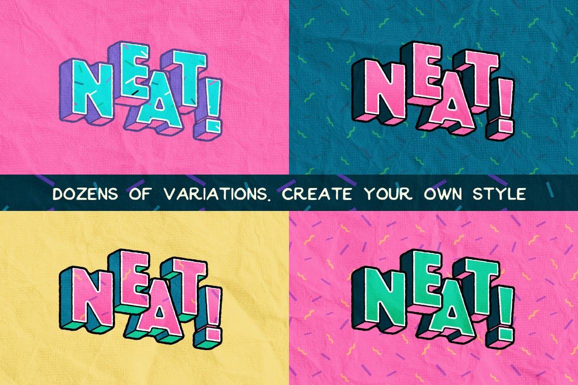 高端时尚清新90年代复古可爱风格3D立体字字体设计背景底纹纹理集合插图1