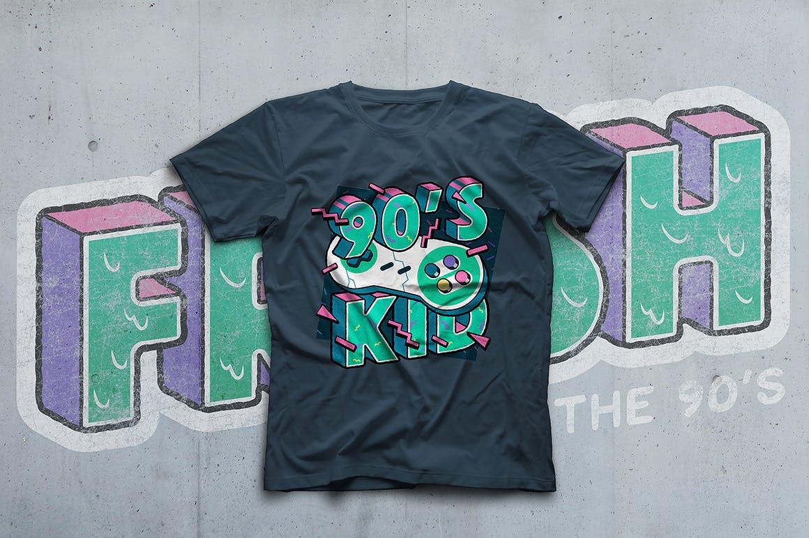 高端时尚清新90年代复古可爱风格3D立体字字体设计背景底纹纹理集合插图3