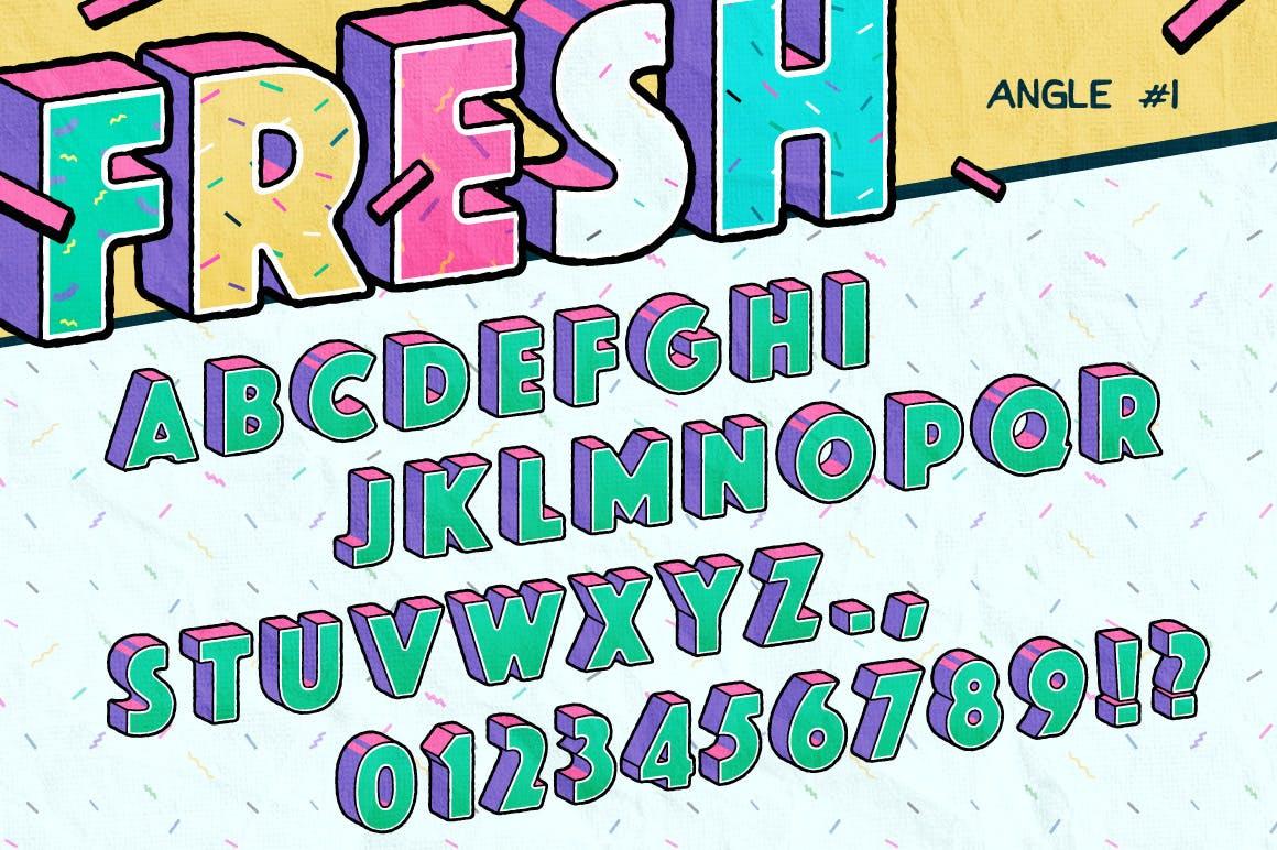 高端时尚清新90年代复古可爱风格3D立体字字体设计背景底纹纹理集合插图2
