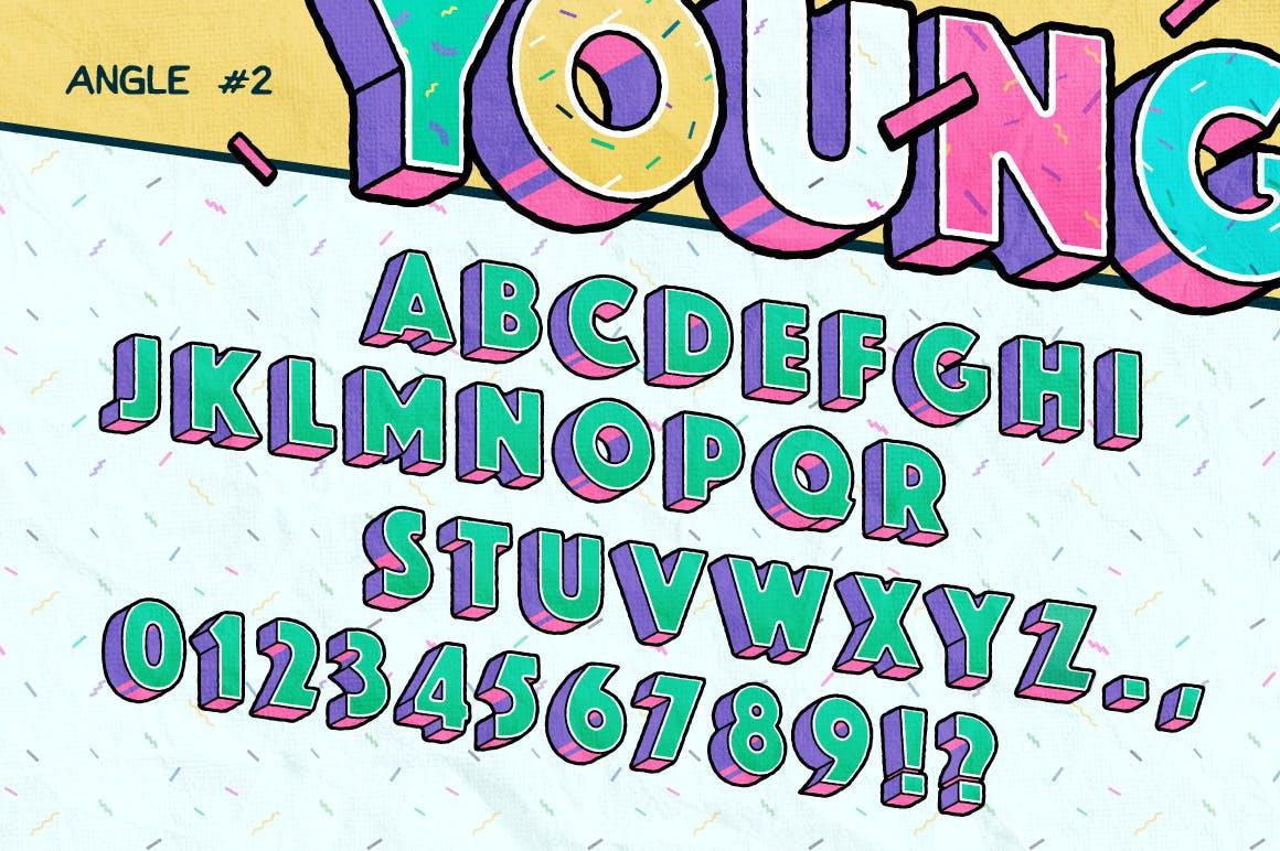高端时尚清新90年代复古可爱风格3D立体字字体设计背景底纹纹理集合插图4
