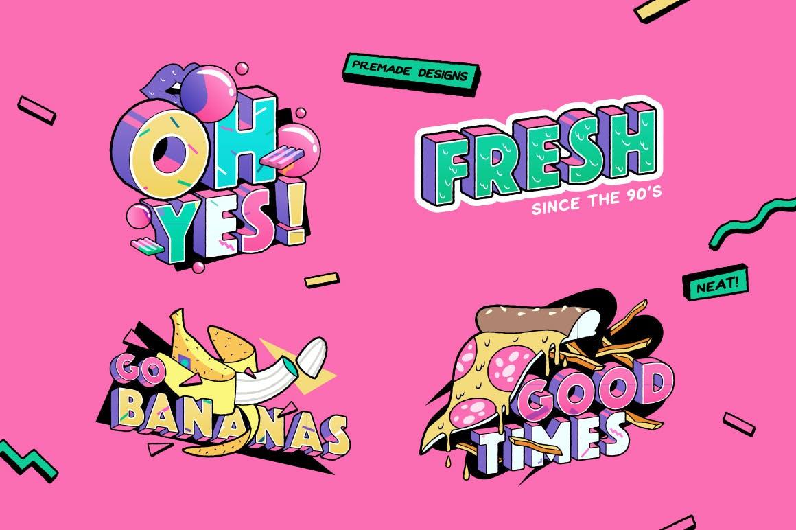 高端时尚清新90年代复古可爱风格3D立体字字体设计背景底纹纹理集合插图5