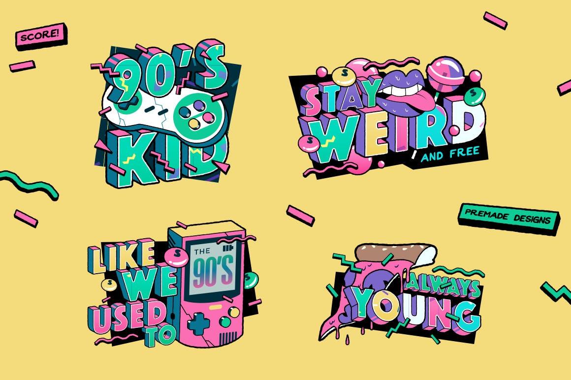 高端时尚清新90年代复古可爱风格3D立体字字体设计背景底纹纹理集合插图6