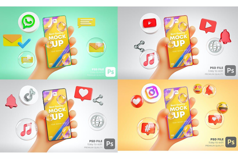时尚高端可爱的手持手机APP UI样机展示模型mockups插图