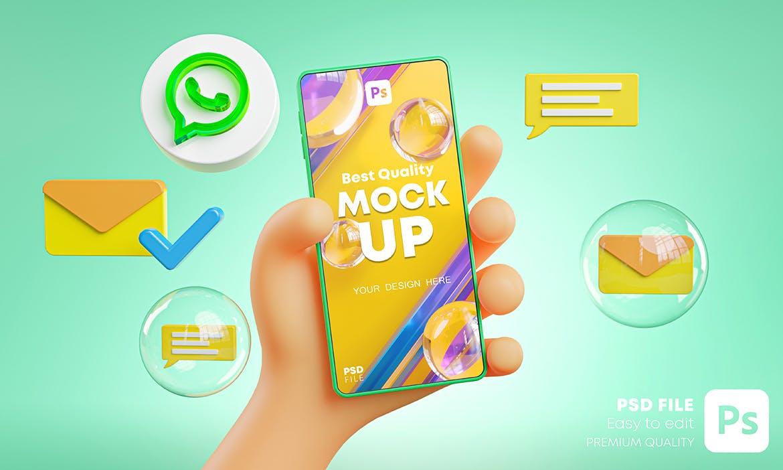 时尚高端可爱的手持手机APP UI样机展示模型mockups插图1