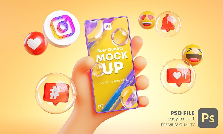 时尚高端可爱的手持手机APP UI样机展示模型mockups插图2