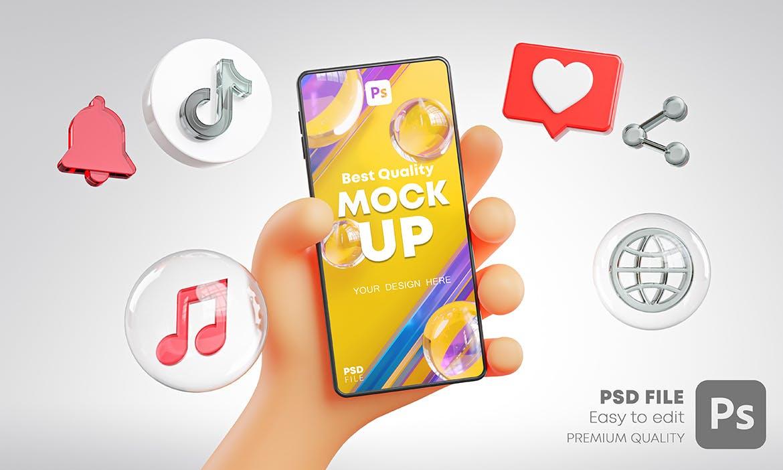 时尚高端可爱的手持手机APP UI样机展示模型mockups插图4